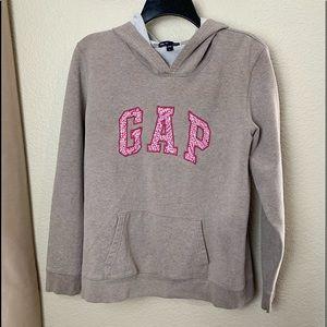 GAP Signature Hoodie Sweatshirt Gray PINK Large